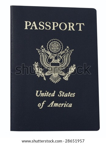 United States passport with clipping path