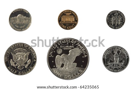 United states proof coins isolated