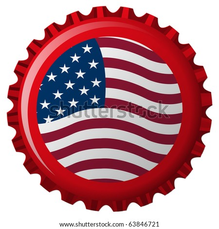 united states stylized flag on bottle cap, abstract art illustration; for vector format please visit my gallery