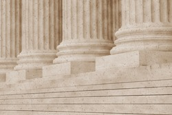 United States Supreme court building in vintage sepia imitation