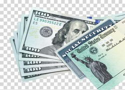 United States Treasury check, ssn card with US currency. Coronavirus economic impact stimulus payments or IRS tax refund on isolated background including clipping path.