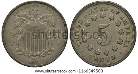 United States US coin 5 five cents 1868, shield with thirteen stripes, digit of value surrounded by thirteen stars,