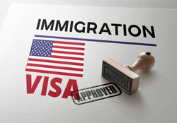 United States Visa Approved with Rubber Stamp and  American flag