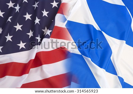 United States vs. Bavarian flag as a background #314565923