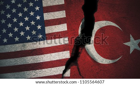 United States vs Turkey Flags on Cracked Wall