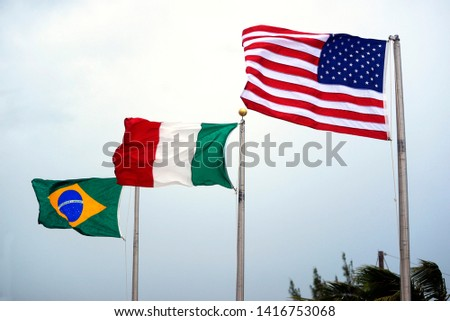 United states wawing flag under the summer clouds, Mexican Flag, Brazilian flag