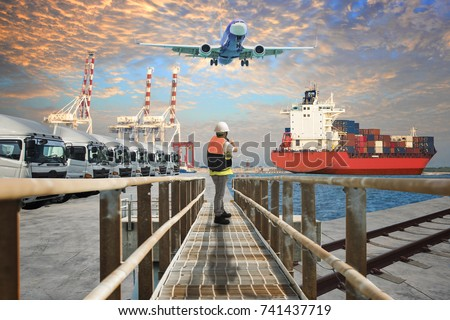 units of trailers trucking servicesfor logistics transportation keep standing by for moving forward in port yars readiness upon customers require
