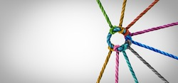 Unity and teamwork concept as a business metaphor for joining a partnership as diverse ropes connected together as a corporate symbol for cooperation and working collaboration.
