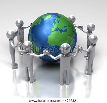 Unity for Ecology - [ characters holding hands in a chain around earth ]
