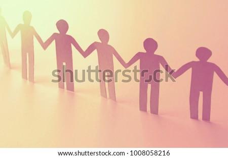 unity of paper human team work symbol #1008058216