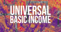 Universal Basic Income theme with Manhattan New York City skyscrapers
