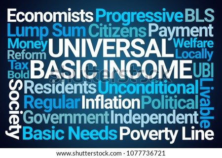 Universal Basic Income Word Cloud on Blue Background