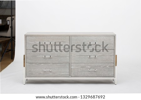 Universal Coastal Living Home, Escape Small Space Dresser with 6 Drawers, Modern Huston Dresser with Jewelry Tray stock photo