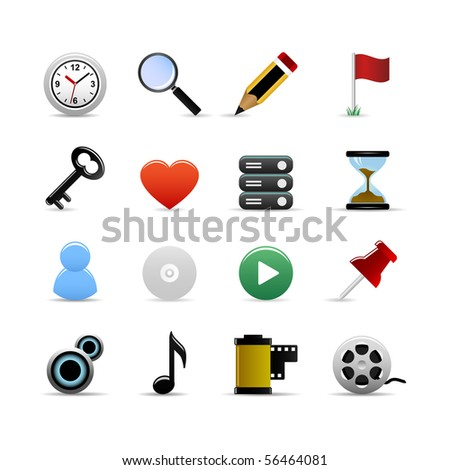 Universal Icons Set Raster - stock photo