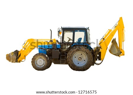 Universal wheeled tractor isolated over white background - stock photo