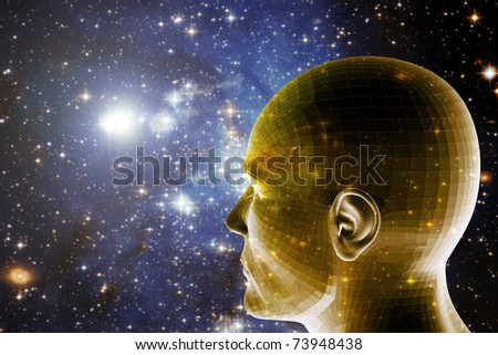 universe background with a human head looking forward and in the future