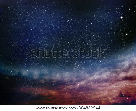 Universe filled with stars, nebula and galaxy #304882544