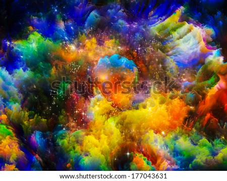 Stock Photo Universe Is Not Enough series. Creative arrangement of fractal elements, lights and textures to act as complimentary graphic for subject of fantasy, science, religion and design
