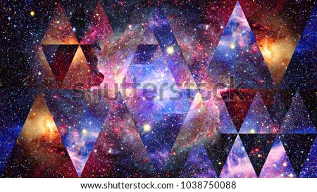 Universe, nebula, galaxy and the sacred geometry collage. Abstract outer space. Elements of this image furnished by NASA. #1038750088