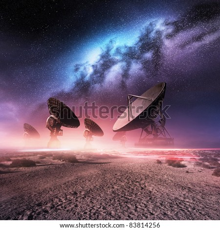 Universe Observatory. A group of telescopes and the Milky Way. - stock photo