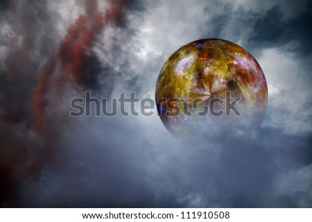 Universe of stars in a golden orb floating in a swirling surreal cosmic cloud. Elements of this image furnished by NASA.