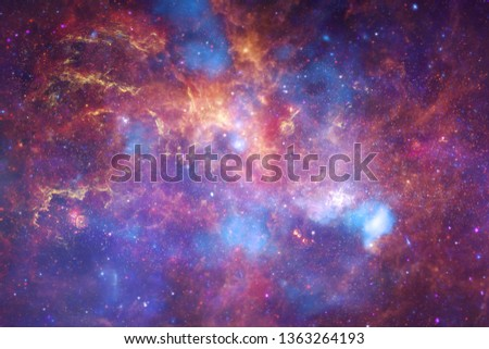 Universe scene with bright stars and galaxies in deep space showing the beauty of space exploration. Elements of this image furnished by NASA