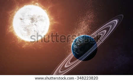 Universe scene with planets, stars and galaxies in outer space showing the beauty of space exploration. Elements furnished by NASA
