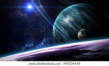 Universe scene with planets, stars and galaxies in outer space showing the beauty of space exploration. Elements furnished by NASA #349204448