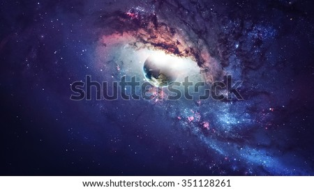 Universe scene with planets, stars and galaxies in outer space showing the beauty of space exploration. Elements furnished by NASA #351128261