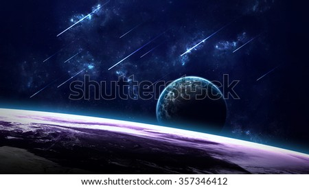 Universe scene with planets, stars and galaxies in outer space showing the beauty of space exploration. Elements furnished by NASA #357346412