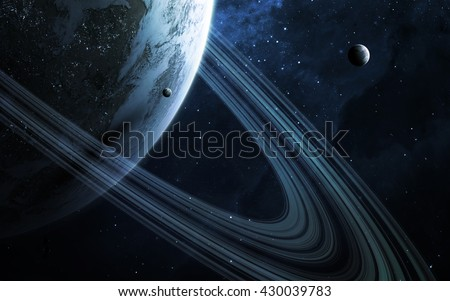 Universe scene with planets, stars and galaxies in outer space showing the beauty of space exploration. Elements furnished by NASA #430039783