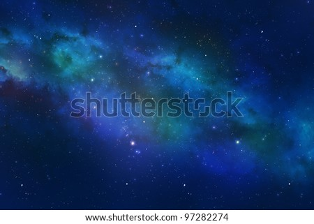 Universe showing the milky way galaxy with stars and colorful space dust. - stock photo