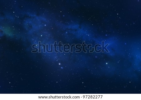 Universe showing the milky way galaxy with stars and space dust.