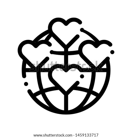 Universe Volunteers Support Thin Line Icon. Volunteers Support, Help Charitable Organizations, Heart World Love Linear Pictogram. People Silhouette Blood Donor Contour Illustration