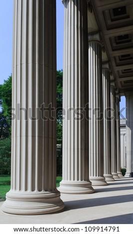 University building, stone columns
