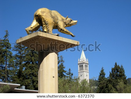 University Campus UC Berkeley, California, with golden bear and campanile visible.