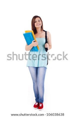University girl holding a school bag and smiling
