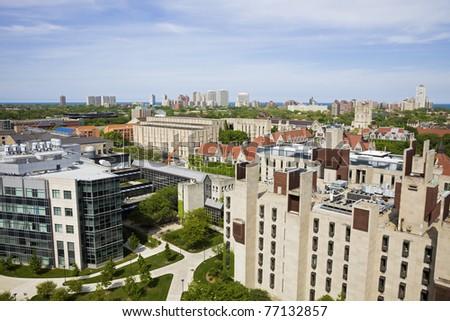 University of Chicago campus aerial photo.
