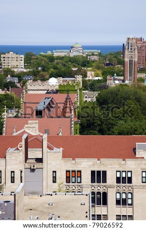 University of Chicago campus aerial photo.  Museum of Science and Industry in the background.
