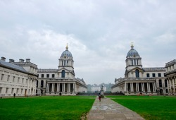 University of Greenwich, London. View of Greenwich College Campus on a cloudy day. Greenwich, London, UK - October 19, 2017.