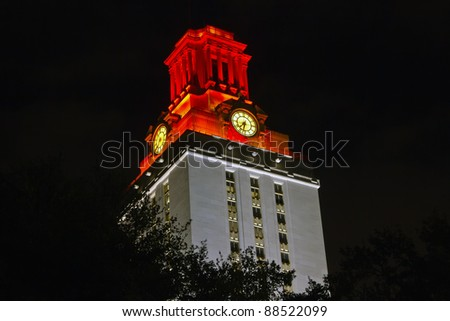 University of Texas at Austin Tower glowing in white/orange to celebrate athletic victory of that day.