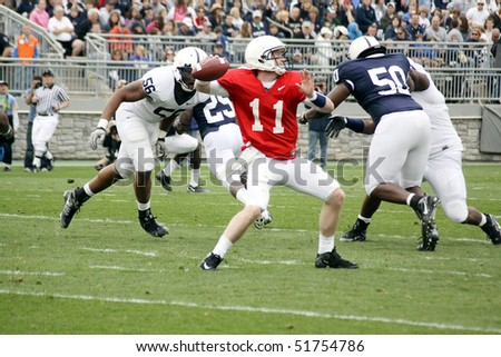 UNIVERSITY PARK, PA - APRIL 24: Penn State quarterback Matthew McGloin drops back to pass at Beaver Stadium April 24, 2010 in University Park, PA