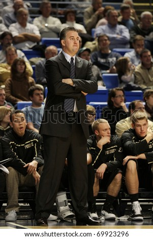 UNIVERSITY PARK, PA - JANUARY 5: Purdue\'s head coach looks frustrated during a game against Penn State at the Byrce Jordan Center January 5, 2011 in University Park, PA