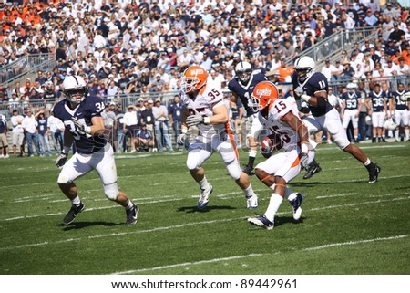 UNIVERSITY PARK, PA - OCT 9: Penn State linebacker Nate Stupar ( No. 34) moves in to make a tackle during loss to Illinois at Beaver Stadium on October 9, 2010 in University Park, PA