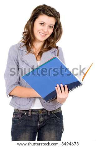 university student holding a blue notebook - isolated over a white background