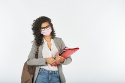 University student ready to study with a mask due to the covid-19 pandemic