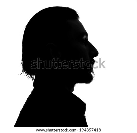Unknown  male person silhouette.Back lit studio isolated #194857418
