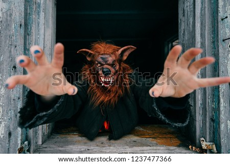 Unknown person with creepy horrible werewolf mask looking out from old wooden ghost house window. Helloween concept.  Spooky terrible fearful monster. Children fear. Frightening tales. Nightmare #1237477366