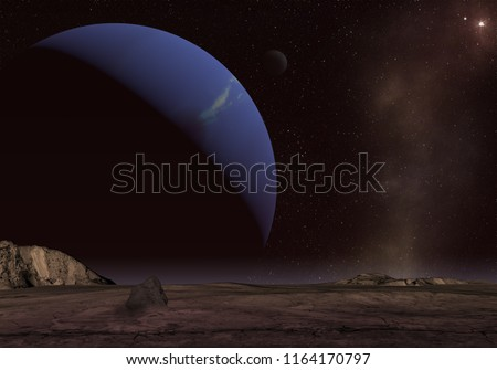 Unknown planet. Space exploration.  3D Illustration.
