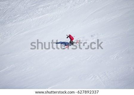 Unknown skier in Sierra Nevada, Granada. #627892337